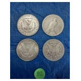 Lot of 4 US Silver Dollars
