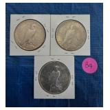 Lot of 3 US Silver Dollars