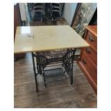 Antique Marble Top Iron Base Sewing Table