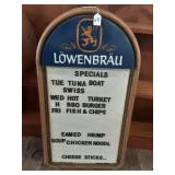 Lite up Plastic Vintage Lowenbrau Menu Sign