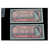 1954 Two Dollar Bills x 5