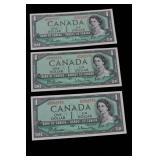 1954 One Dollar Bills x 3