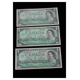 1967 One Dollar Bills x 3