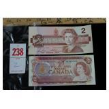 1974 & 1986 Two Dollar Bills