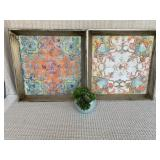 """Colorful Wood Trays (20"""" x 20"""", set of 2)"""