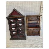 Small Wood Spice Chest and Miniature Wood Shelf