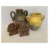 Pottery and Antique Wood Bookends
