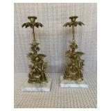 Brass Candlesticks on Marble Base (qty. 2)