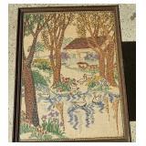"Framed Cross Stich (ducks, cottage; 16"" x 20"")"