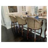 Barstools with woven back (set of 5)