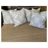 Custom blue & white pillows with down insert (4)