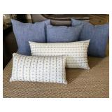 Solid Blue, Blue White Pillows (set of 5)