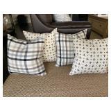 Black, Grey, Blue, White Pillows (set of 4)