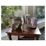 Vases (silver tones, qty. 5)