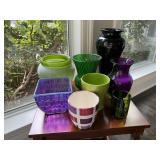 Assorted Green, Purple Vases