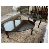 Wood Coffee Table, Wood Side Table (glass tops)