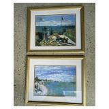 """Framed Impressionist Prints (set of two, 22"""" x 19)"""