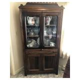 Poplar china cabinet 37 x 15 x 76 t (contents NOT