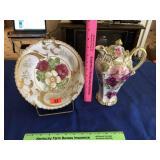 Floral bowl & pitcher