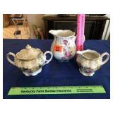 Floral creamer, sugar, & pitcher