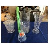 Pitcher, vase, glass bell, & candy dish