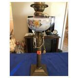"Brass table lamp (no globe) 22"" tall"