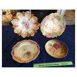 2 floral bowls & 2 floral plates