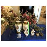 Pair of vases, cricket boxes (2), & other items