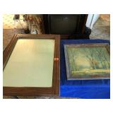 Antique mirror & old framed picture