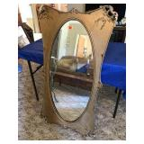 Large oval framed mirror 25 x 47 (some corner