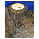 """Brass floral stand  w/marble top 29"""" tall"""