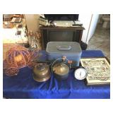 Small cosmetic case, 2 pots, & wire carriage, &