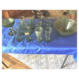 Green glassware ( 14 pcs)