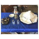 Kerosene lamp, soup server tray set, (USA), other