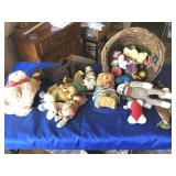 Assortment of stuffed animals & lamp