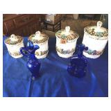 2 Cobalt vases & canister set