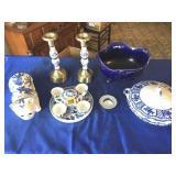 Candle holders, bowl, tea set, soup bowl & cat