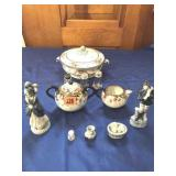 Figurines, S & P shakers, serving bowl, & C & S
