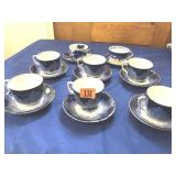 6 matching Flo-Blue cups/saucers & 2 other