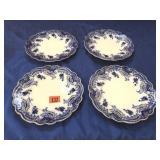 4 Flo-Blue dinner plates