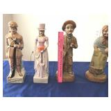 Decanter (right) & 3 tall figurines (left)
