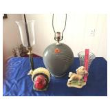 """Vase, lamp (25""""), candle holder (22""""), turkey &"""
