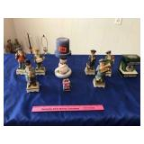 Assortment of Christmas figurines & candle holder