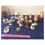 Christmas figurines, candle holders, & ornaments