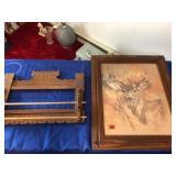 Oak towel rack & framed deer picture 24 x 20