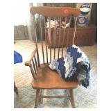 Maple spindle back rocking chair & afgan