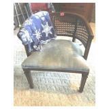 Barrel back wicker chair & throw