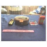 Old razor, dolls in box, ash tray, & tin bank