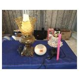 """2 table lamps & extra globe 12"""" & 20"""" tall"""