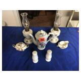 S & P shakers, & pitcher, lamps, C & S bowls